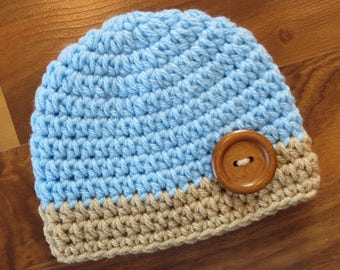 Crocheted Baby Boy Hat with Wooden Button ~ Baby Blue & Tan ~ Baby Shower Gift ~ Photo Prop ~ Newborn to 5T ~ MADE TO ORDER