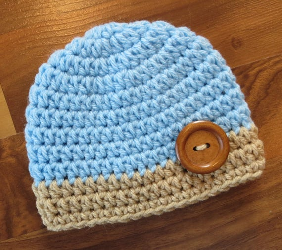 Crocheted Baby Boy Hat with Wooden Button ~ Baby Blue & Tan ~ Baby Shower Gift ~ Photo Prop ~ Newborn to Teen Size ~ MADE TO ORDER