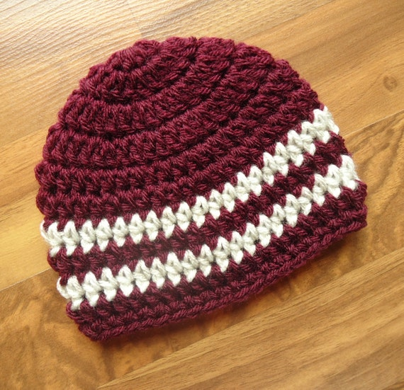 Crocheted Baby Boy Hat ~ Burgundy & Oatmeal ~ Hospital Hat ~ Baby Shower Gift ~ Photo Prop ~ Newborn to Teen Size ~ MADE TO ORDER