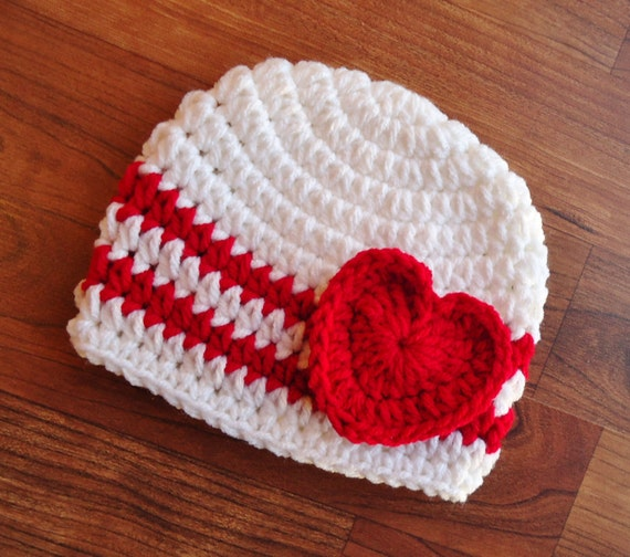 Crocheted White & Red Baby Girl Valentine's Day Hat with Heart ~ Baby Gift ~ Newborn Photo Prop ~ Newborn to Teen Size ~ MADE TO ORDER