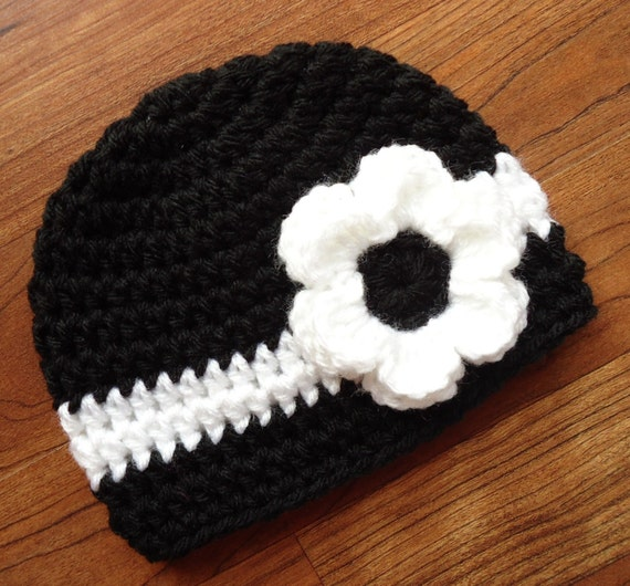 Crocheted Baby Girl Hat with Flower ~ Black & White ~ Baby Shower Gift ~ Newborn Photo Prop ~ Newborn to Teen Size ~ MADE TO ORDER
