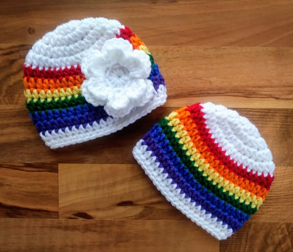 "Crocheted Baby Boy/Girl Twin Hat Set ~White ""Rainbow Baby"" Hat Set ~ Baby Shower Gift ~ Photo Prop ~ Newborn to 5T ~ MADE TO ORDER"