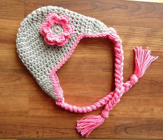 Crocheted Baby Girl Ear Flap Hat with Braided Ties and Flower ~ Silver Gray & Bubblegum Pink ~ Newborn to Teen Size ~ MADE TO ORDER