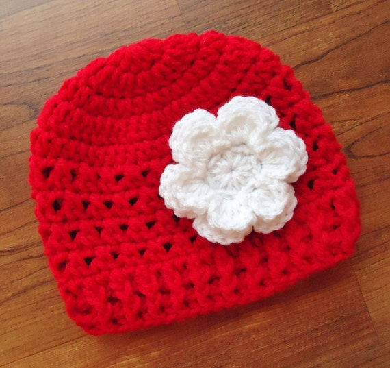 Crocheted Baby Girl Hat with Flower ~ Red & White ~ Christmas or Valentine's Day Hat ~ Winter Hat ~ Newborn to Teen Size ~ MADE TO ORDER