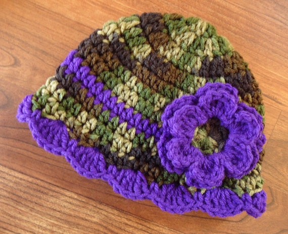 Crocheted Baby Girl Hat with Flower ~ Camouflage & Royal Purple ~ Baby Shower Gift ~ Purple Camo ~ Newborn to Teen Size ~ MADE TO ORDER