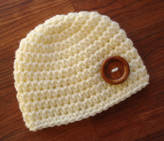 Crocheted Baby Boy Hat with Wooden Button ~ Cream Color ~ Christening ~ Baby Shower Gift ~ Photo Prop ~ Newborn to Teen Size ~ MADE TO ORDER