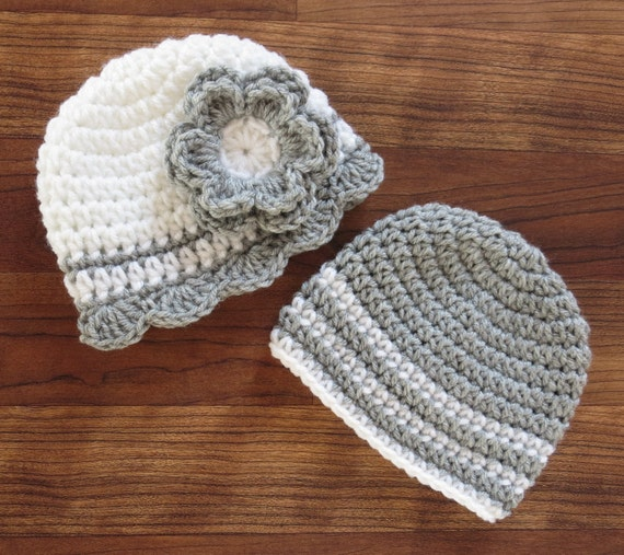 Crocheted Baby Boy/Girl Twin Hat Set ~White & Silver Gray Hat Set ~ Baby Shower Gift ~ Photo Prop ~ Newborn to 5T ~ MADE TO ORDER