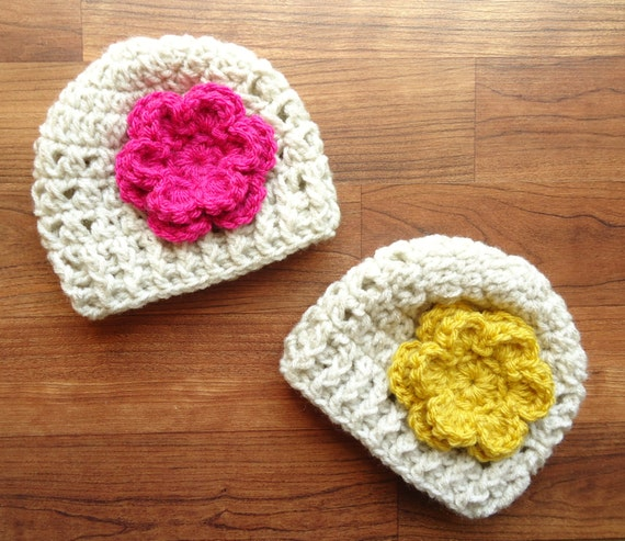 Crocheted Baby Girl/Girl Twin Hats with Flowers ~ Oatmeal with Dark Pink & Mustard Yellow Flower ~ Baby Gift ~ Newborn to 5T ~ MADE TO ORDER