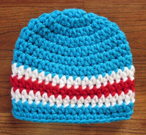 Crocheted Baby Boy Hat ~ Bright Aqua, Red & White ~ Baby Gift ~ Photo Prop ~ Dr. Suess Theme Hat ~ Newborn to Teen Size ~ MADE TO ORDER