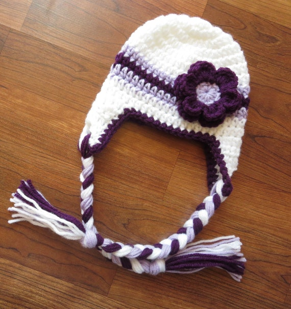Crocheted Baby Girl Ear Flap Hat with Braided Ties and Flower ~ White, Plum Purple & Lavender ~ Newborn to Teen Size ~ MADE TO ORDER