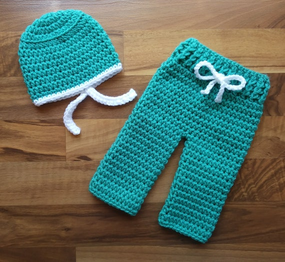 "Crocheted Baby Hat and Pants Set ~ Doctor/Nurse ""Scrubs"" ~ Jade Green & White ~ Halloween Outfit ~ Newborn (0-2 Months) ~ MADE TO ORDER"