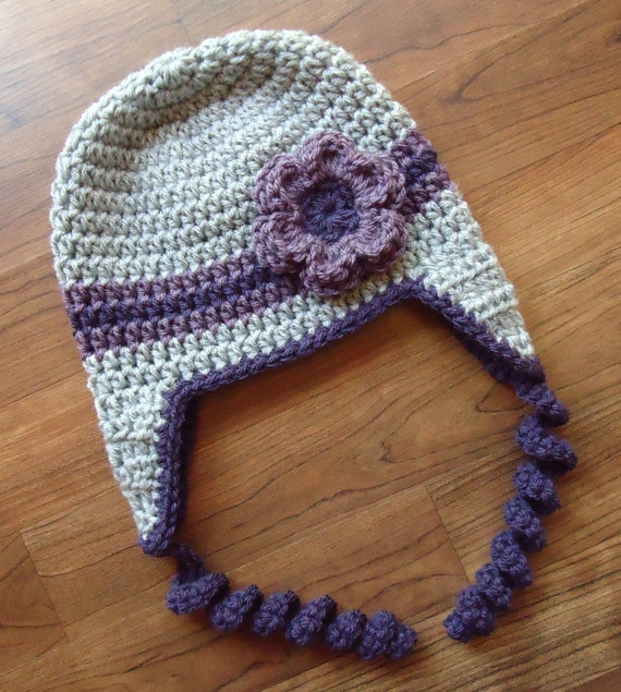 Crocheted Baby Girl Ear Flap Hat with Curly Ties and Flower ~ Silver Gray Heather & Purple ~ Winter Hat ~ Newborn to Teen ~ MADE TO ORDER