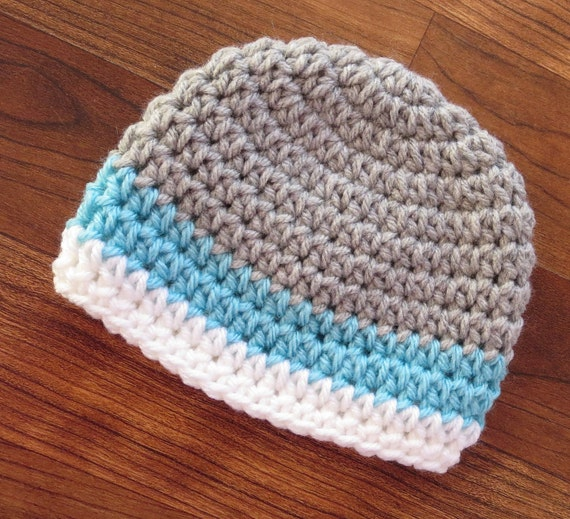 Crocheted Baby Boy Hat ~ Silver Gray, Light Aqua & White ~ Baby Shower Gift ~ Photo Prop ~ Winter Hat ~ Newborn to Teen Size ~ MADE TO ORDER