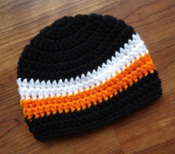 Crocheted Baby Boy Hat ~ Black, Bight Orange & White ~ Halloween ~ Baby Shower Gift ~ Photo Prop ~ Newborn to Teen Size ~ MADE TO ORDER