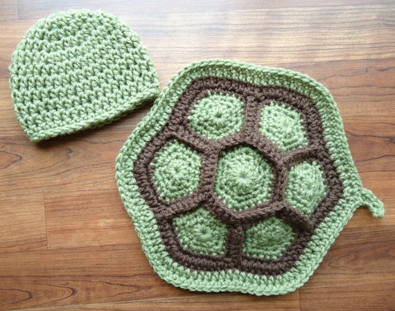 Crocheted Little Turtle Set ~ Baby Boy Newborn Photo Prop ~ Dusty Green & Cocoa Brown ~ Two Piece Set ~ Newborn Size Only ~ MADE TO ORDER