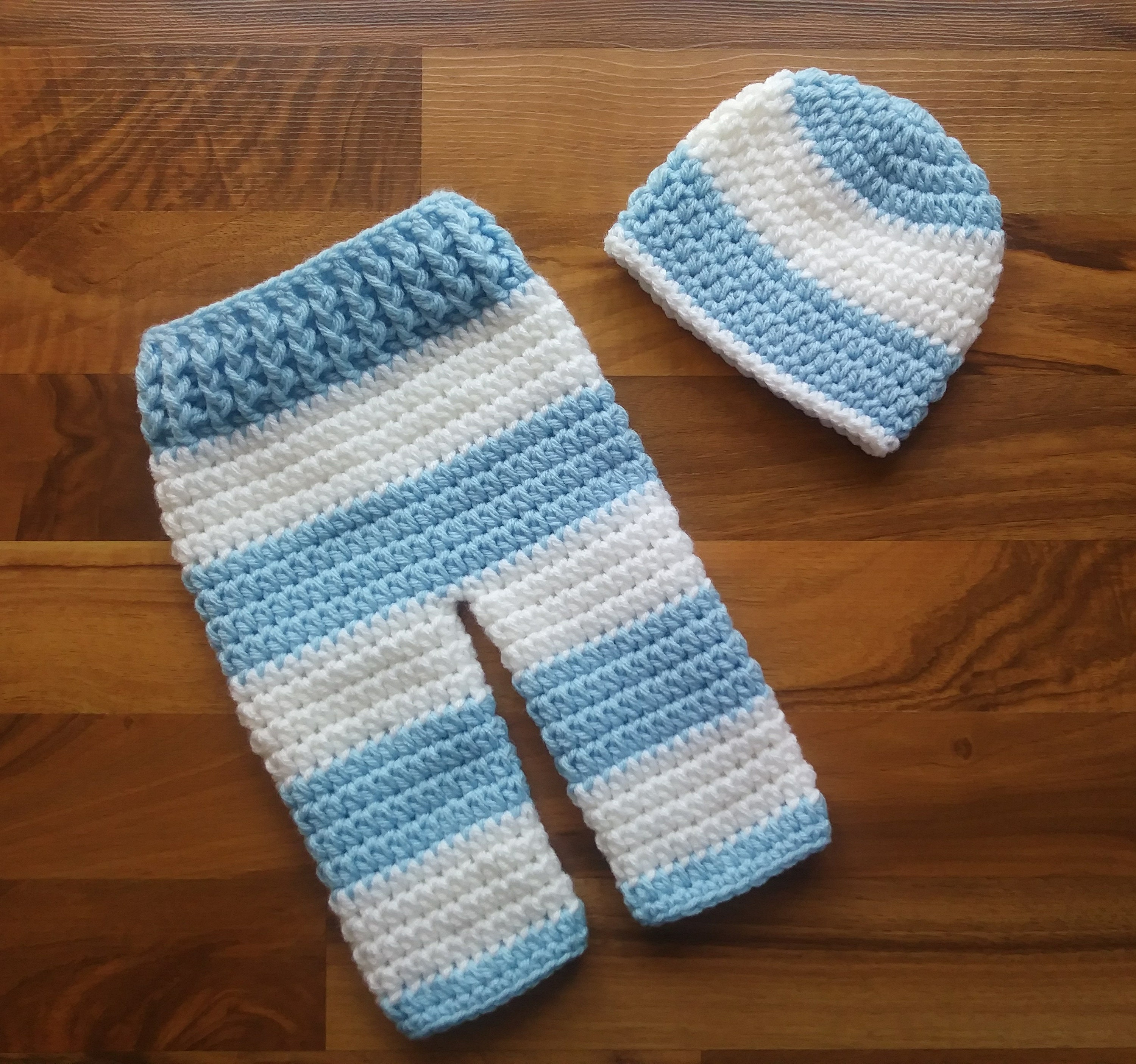 a6a6965a9 Crocheted Baby Boy Hat and Pants Set Baby Blue & White Wide | Etsy