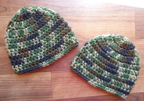 "Crocheted Baby Boy/Boy Twin Identical Hat Set ~ Camouflage ~ ""Camo"" ~ Photo Prop ~ Baby Shower Gift ~ Newborn to 5T ~ MADE TO ORDER"