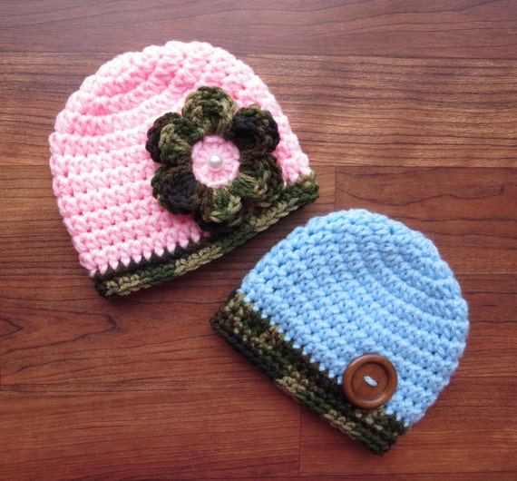 Crocheted Baby Boy/Girl Twin Hat Set ~ Baby Blue & Baby Pink with Camouflage Accents ~ Baby Shower Gift ~ Newborn to 5T ~ MADE TO ORDER