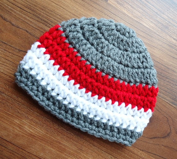 Crocheted Baby Boy Hat ~ Pewter Gray, Red & White ~ Baby Shower Gift ~ Photo Prop ~ Winter Hat ~ Newborn to Teen Size ~ MADE TO ORDER