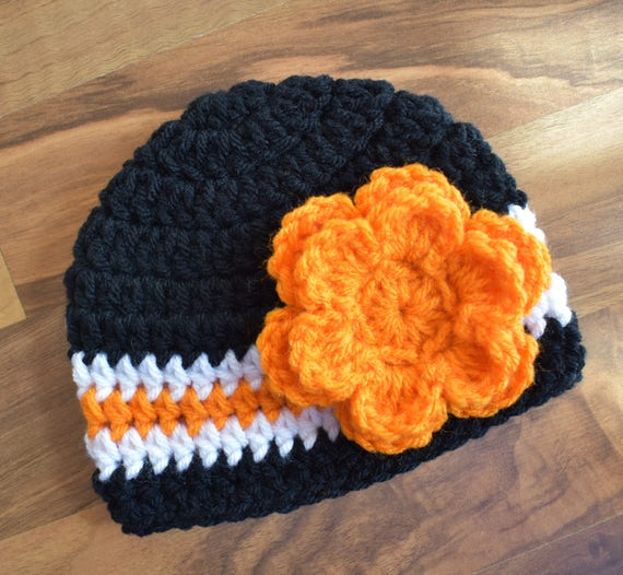 Crocheted Baby Girl Hat with Flower ~ Black, Bright Orange & White ~ Halloween Hat ~ Harley Theme Hat ~ Newborn to Teen Size ~ MADE TO ORDER