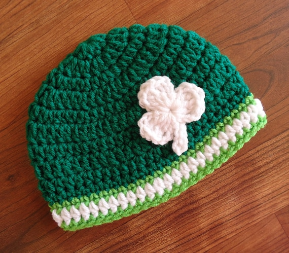 Crocheted Baby Boy/Girl Hat, Crocheted Baby St. Patrick's Day Hat, Bright Kelly Green with White Shamrock, Newborn to 5T - MADE to ORDER
