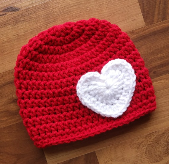 Crocheted Baby Girl Valentine's Day Hat with Heart ~ Bright Red & White ~ Baby Shower Gift ~ Newborn to Teen Size ~ MADE TO ORDER
