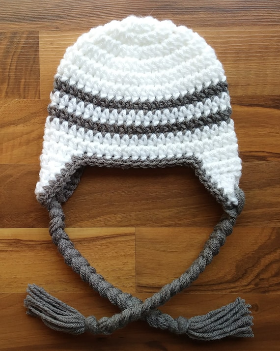Crocheted Baby Boy Ear Flap Hat with Braided Ties ~ White with Pewter Gray~ Baby Gift ~ Winter Hat ~ Newborn to Teen Size ~ MADE TO ORDER
