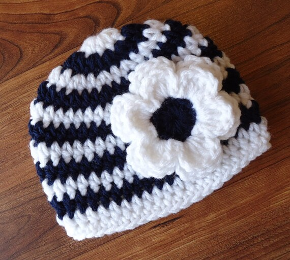 Crocheted Baby Girl Hat with Flower ~ White & Dark Navy Blue Stripes ~ Baby Shower Gift ~ Photo Prop ~ Newborn to Teen Size ~ MADE TO ORDER