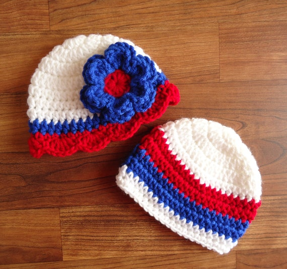 Crocheted Baby Twin Boy/Girl Hat Set ~ Fourth of July Hats ~ Bright Red, White & Royal Blue ~ Baby Gift ~ Newborn to 5T ~ MADE TO ORDER