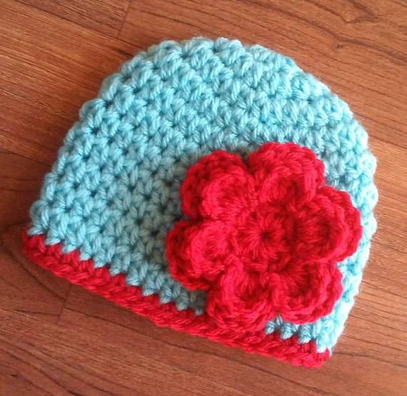Crocheted Baby Girl Hat with Flower ~ Light Aqua & Scarlet Red ~  Baby Shower Gift ~ Photo Prop ~ Newborn to Teen Size ~ MADE TO ORDER