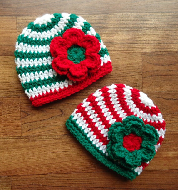 Crocheted Baby Twin Girl/Girl Christmas Hats ~ Bright Red & Kelly Green with White Stripes ~ Baby Gift ~ Newborn to 5T ~ MADE TO ORDER
