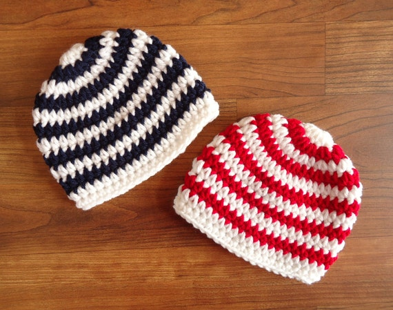 Crocheted Baby Boy/Boy Twin Hat Set ~ Dark Navy Blue and White & Red and White Stripes ~ Fourth of July ~ Newborn to 5T ~ MADE TO ORDER