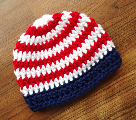 Crocheted Baby Fourth of July Hat, Independence Day Baby Hat, Red & White Stripes with Navy Blue Trim, Newborn to 5T - MADE TO ORDER