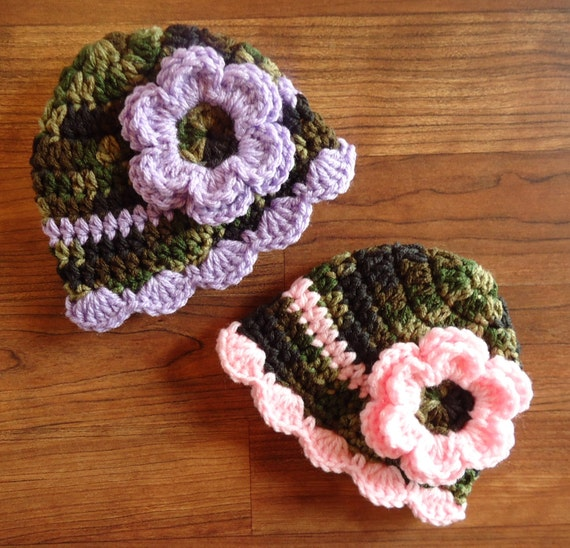 Crocheted Baby Girl/Girl Twin Hat Set ~ Camouflage with Baby Pink & Lavender ~ Baby Shower Gift ~ Newborn to 5T ~ MADE TO ORDER