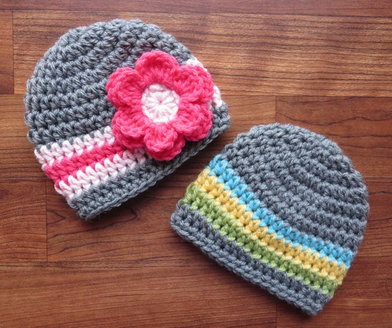 Crocheted Baby Boy/Girl Twin Hat Set ~ Sterling Gray with Aqua, Yellow, Green & Sterling Gray with Pink ~ Newborn to 5T ~MADE TO ORDER