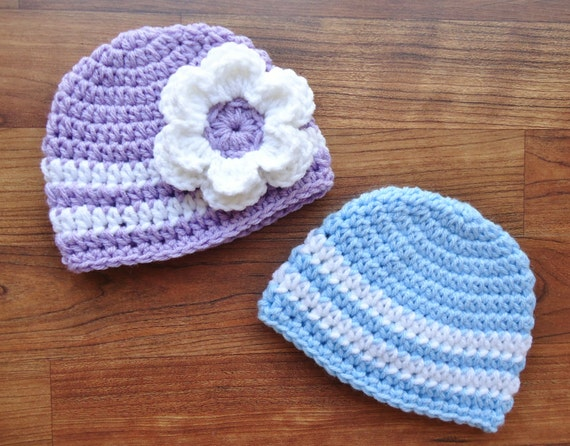 Crocheted Baby Boy/Girl Twin Hat Set ~ Baby Blue, Lavender & White ~ Baby Shower Gift ~ Photo Prop ~ Newborn to 5T ~ MADE TO ORDER