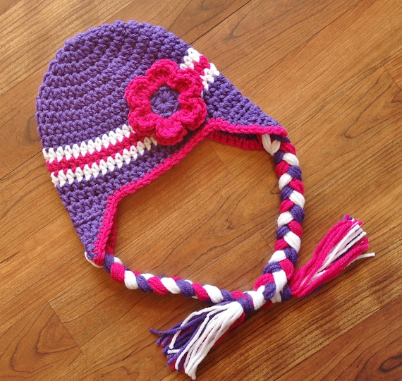 Crocheted Baby Girl Ear Flap Hat with Braided Ties and Flower ~ Violet Purple, Dark Pink & White ~ Newborn to Teen Size ~ MADE TO ORDER