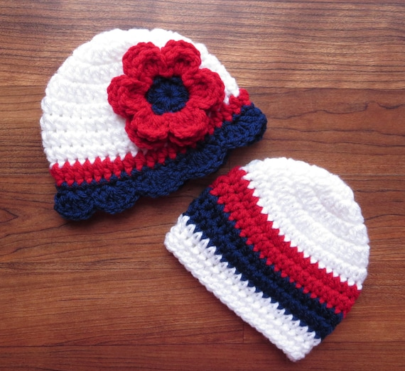Crocheted Baby Twin Boy/Girl Hat Set ~ Fourth of July Twin Hats ~ Bright Red, White & Blue ~ Baby Gift ~ Newborn to 5T ~ MADE TO ORDER