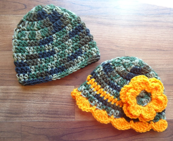 Crocheted Baby Boy/Girl Twin Hat Set ~ Camouflage & Bright Orange ~ Baby Hunting Hats ~ Baby Shower Gift ~ Newborn to 5T ~ MADE TO ORDER