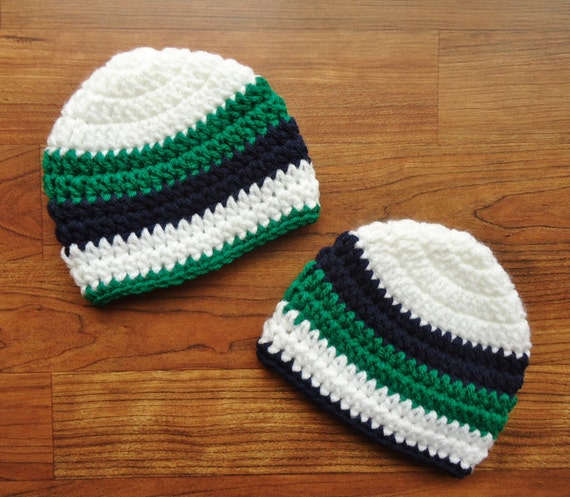 Crocheted Baby Boy/Boy Twin Hat Set ~ White Hats with Bright Kelly Green & Dark Navy Blue Stripes ~ Newborn to 5T ~ MADE TO ORDER