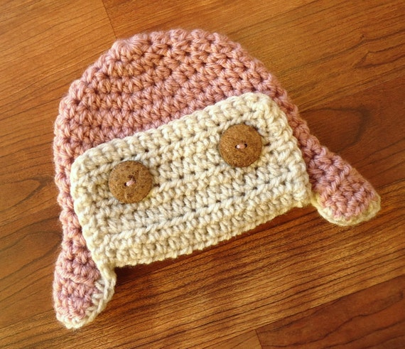 Crocheted Baby Girl Aviator Earflap Hat ~ Dusty Rose Pink & Oatmeal ~ Baby Shower Gift ~ Newborn to Teen Size ~ Winter Hat ~ MADE TO ORDER