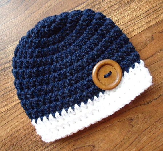 Crocheted Baby Boy Hat with Wooden Button ~ Dark Navy Blue & White ~ Baby Shower Gift ~ Photo Prop ~ Newborn to Teen Size ~ MADE TO ORDER