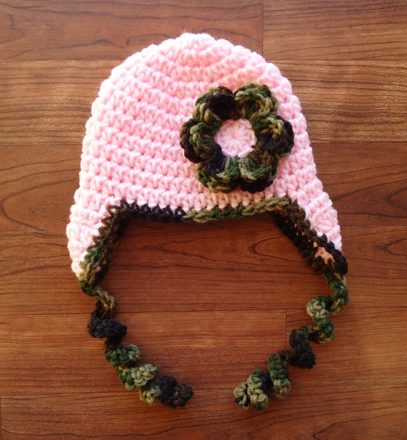 Crocheted Baby Girl Ear Flap Hat with Curly Ties and Flower ~ Baby Pink & Camouflage ~ Newborn to Teen Size ~ Winter Hat ~ MADE TO ORDER