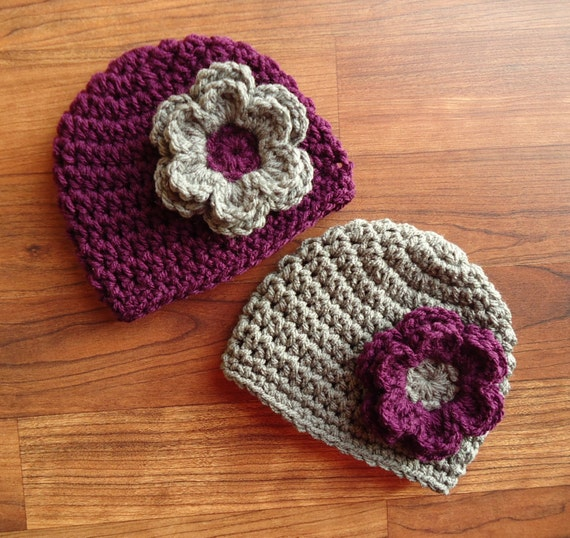 Crocheted Baby Girl/Girl Twin Hat Set ~ Plum Purple & Pewter Gray Hats with Flowers ~ Baby Shower Gift ~ Newborn to 5T ~ MADE TO ORDER