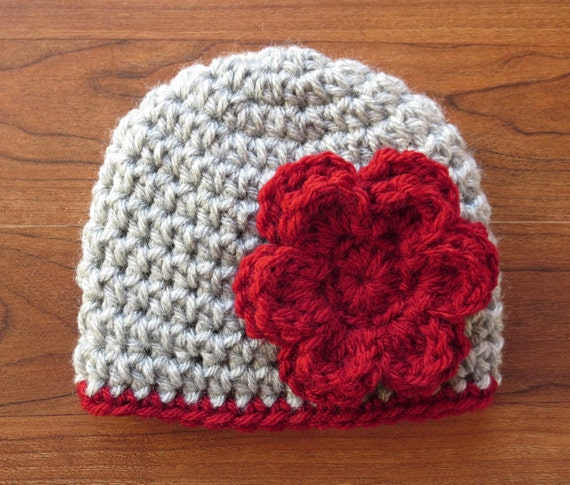Crocheted Baby Girl Hat with Flower ~ Silver Gray Heather & Cranberry Red Flower ~ Baby Shower Gift ~ Newborn to Teen Size ~ MADE TO ORDER
