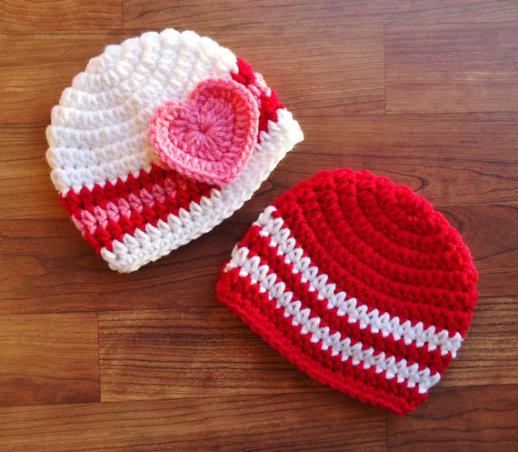 Crocheted Baby Boy/Girl Twin Valentine's Day Hat Set ~ Bright Red, White & Bubblegum Pink Hats with Heart ~ Newborn to 5T ~ MADE TO ORDER