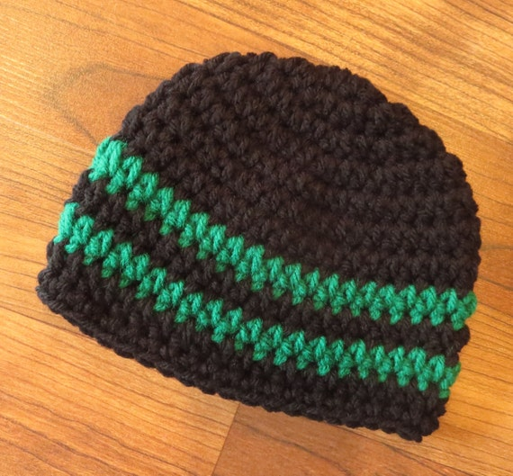 Crocheted Baby Boy Hat ~ Black & Kelly Green ~ Christmas Hat ~ Baby Shower Gift ~ Photo Prop ~ Newborn to Teen Size ~ MADE TO ORDER