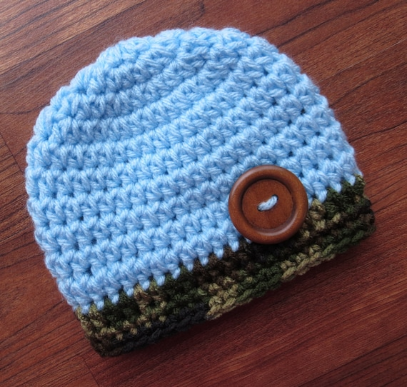 Crocheted Baby Boy Hat with Wooden Button ~ Baby Blue & Camouflage ~ Baby Shower Gift ~ Photo Prop ~ Newborn to Teen Size ~ MADE TO ORDER