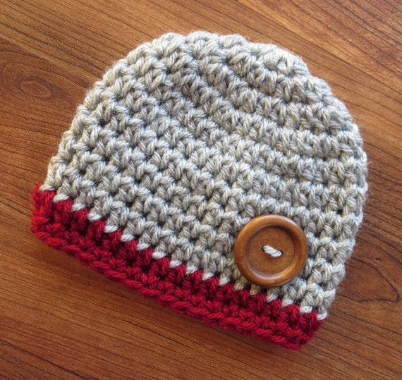 Crocheted Baby Boy Hat with Wooden Button ~ Silver Gray Heather & Cranberry Red ~ Baby Shower Gift ~ Newborn to Teen Size ~ MADE TO ORDER