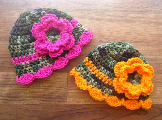 Crocheted Baby Girl/Girl Twin Hat Set ~ Camouflage with Orange and Dark Pink ~ Baby Gift ~ Photo Prop ~ Newborn to 5T ~ MADE TO ORDER